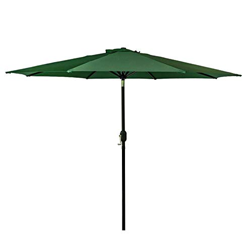 Base 9 Umbrella Market (I-Choice 9 ft Outdoor Patio Umbrella Aluminum Market Table Garden Umbrella 8 Ribs W/Push Button Tilt & Crank Lift Adjustment, Green)