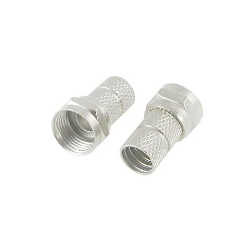 10 x Compression Coaxial Cable F Connector Silver Tone:
