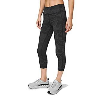 Lululemon Pace Rival Stretchy Cropped Running Leggings - High Rise, Breathable, Sculpted Fit, Incognito Camo Multi Grey/Black, 8