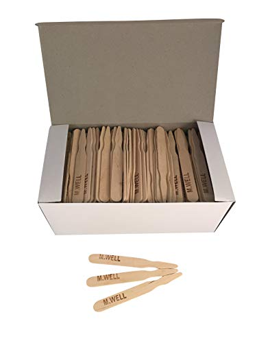 Well Marker Steak - KingSeal 3.5 Inch Natural Birch Wood Steak Markers, Heat Stamped, Med Well - 500 Per Box