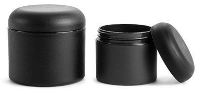 2 Oz. Frosted Black Polypropylene Plastic (PIR) Straight Sided Jars with Black Unlined Dome Caps (48 Jars)