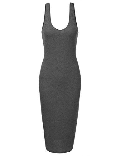 DRESSIS Women's Basic Sleeveless Cutout Back Tank Midi Sheath Dress HCHARCOAL S