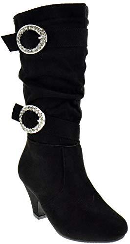 CC Pauline 18S Little Girls Rhinestone Buckle Knee High Dress Boots Black 4