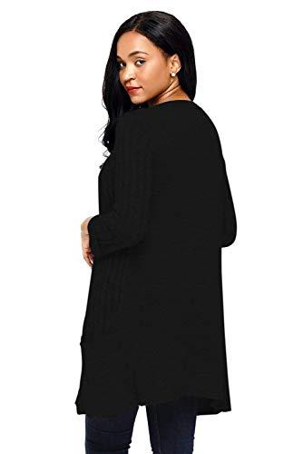 Di Maniche Mode Casual Maglia Lunghe Fashion Outerwear Comodo Con Lunga Cappotto Relaxed Bolawoo Marca Autunno Elegante Giacca Leggero Schwarz Knit Tasche A Donna wTvF8