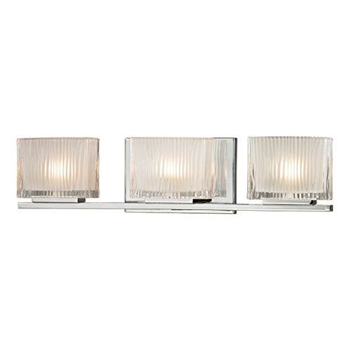 Elk Lighting 11622/3 Chiseled Glass Collection 3 Light Bath in Polished Chrome -