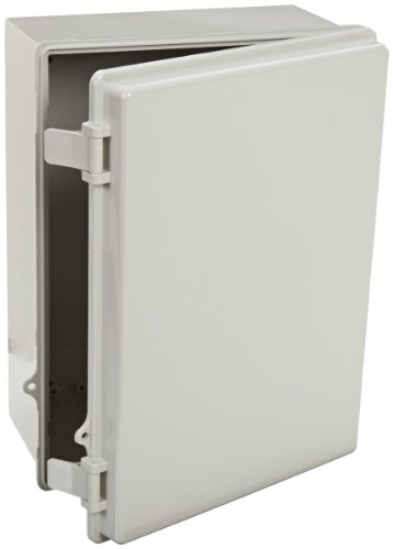 BUD Industries NBB-10251 Style B Plastic Indoor Box with Solid Door, 14-33/64'' Length x 10-35/64'' Width x 5-57/64'' Height, Light Gray Finish by BUD Industries