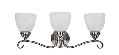 Chloe Lighting CH0191-BN-BL3 Transitional 3-Light Brushed Nickel Bath Vanity Wall Fixture with 21.5-Inch Wide Alabaster Glass