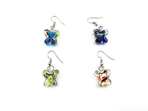 skyllc 15X16mm Color Pattern Butterfly Earrings Bead Caps and Earring Hooks Earrings Lampwork Glass Dangle Earrings