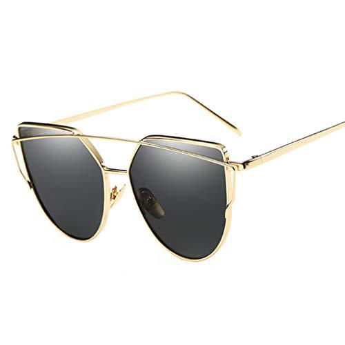 Gray Polished Frame - Taotaojiaju Cat Eye Sunglasses, 100% Anti-UV Mirror Metal Fashion Sunglasses Ladies Colorful Sunglasses Universal Outdoor (Color : Gold Frame Gray)
