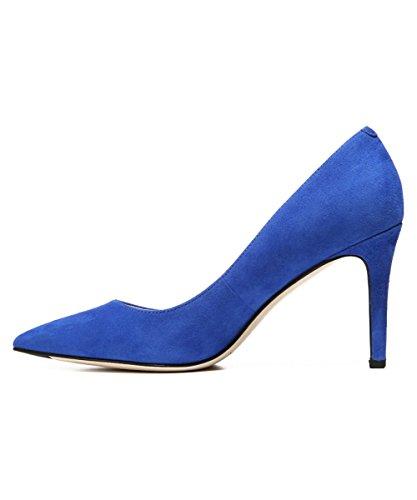 (Via Spiga Womens Carola Pointed Toe Classic Pumps, Cobalt Suede, Size 6.0)