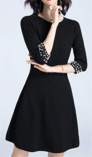 Cromoncent Dresses Pleated Knitted Women's Line 3 Sleeve Bead 4 Black Nail Long Modest A Crewneck Mid 1Sq1rgF