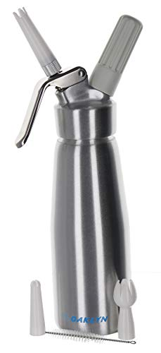 (Large Stainless Steel Whipped Cream Dispenser Canister (1 Pint) - Professional quality cream whipper and maker will whip one pint of liquid into two quarts of cream)