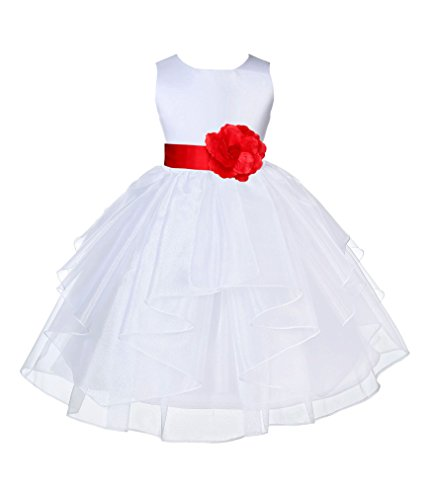 ekidsbridal White Satin Shimmering Organza Flower Girl Dress Christening Dresses 4613T 6