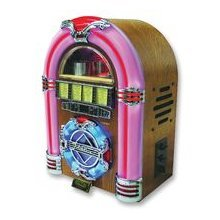 Steepletone Mini Jukebox with 7 colour changing LED lights and CD Player,  AM/FM radio and USB socket for MP3 playback finished in light wood