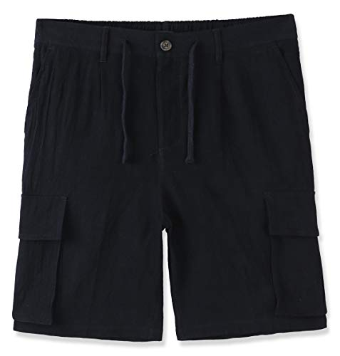 (DESPLATO Mens Casual Classic Comfort Soft Linen/Cotton Pocket Chino Cargo Short Black M)