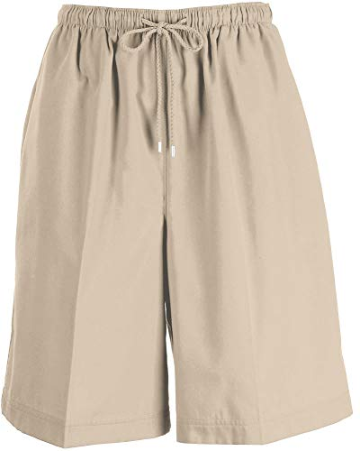 Coral Bay Petite The Everyday Solid Drawstring Twill Shorts Large Petite Oxford tan ()