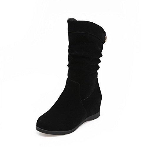 AllhqFashion Damen Eingelegt Niedrig-Spitze Wedges Ziehen auf Niedriger Absatz Stiefel Schwarz