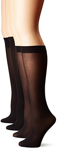 - HUE Women's Cable/Rib/Opaque Assorted Knee Hi Socks, 4 Pair Pack, Black, One Size