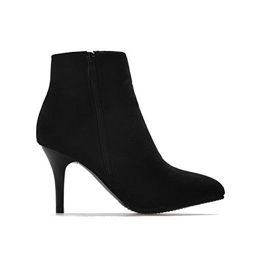 Black Resistant Slip Boots Toe Pointed Suede Rhinestones BalaMasa Womens ABL09907 wACOBq66
