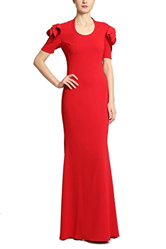 Badgley Mischka Scoop Neck Floor Length Sheath Dress with Rosette Short Sleeves, Ruby Red, Size 12