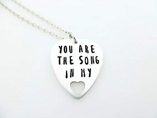 Song in my heart Hand Stamped Guitar Pick anniversary wedding engagement Gift musician heart love anniversary gift for her girlfriend wife