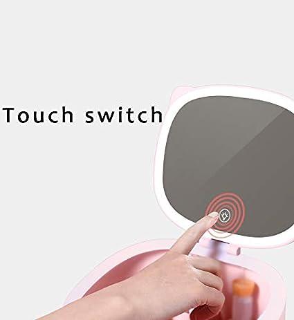 Carga USB Espejo De Tocador con Luz Natural Regulable De Sobremesa Espejo De Maquillaje con Organizador Cosm/ético Espejo De Maquillaje con Luz LED con Pantalla T/áctil