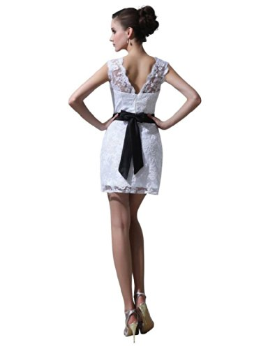 Dearta Mini Ausschnitt Kleidungen Weiß Linie Aermellos Etui Kleiner Reissverschluss Kurz Brautkleider Runder Damen Tuell rFqUnr