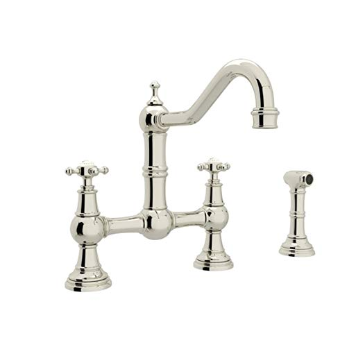 Rohl U.4755X-PN-2 Perrin and Rowe Provence Cross Handle Bridge Kitchen Faucet with Sidespray Rinse and 9-Inch Reach Country Spout, Polished Nickel