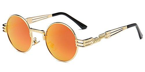 hommes Circle et pour cadre inspiré Or Style femmes Steampunk BOZEVON Lunettes de lentille soleil Retro Round orange Metal Miroir HOqSSYv