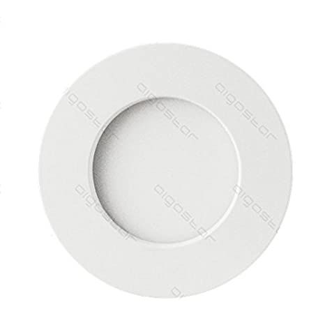 lineteckled® - a05.004.06 F plafón led redondo de superficie con bordo blanco 6 W luz fría 6000 K 220 V IP20 transformador integrado: Amazon.es: Iluminación
