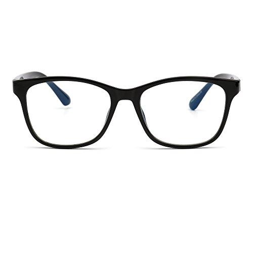 Blue Light Blocking Computer Reading Glasses, Reduce Eye Strain Anti Glare Clear Lens Video Eyeglasses Men Women (Shiny Black / - Men Eyeglasses Cool