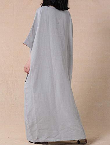 M Maniche colore A Vestito Allentato Blu Pipistrello Maxi Dimensione Grigio Con Lungo Lunghe 1UnwH