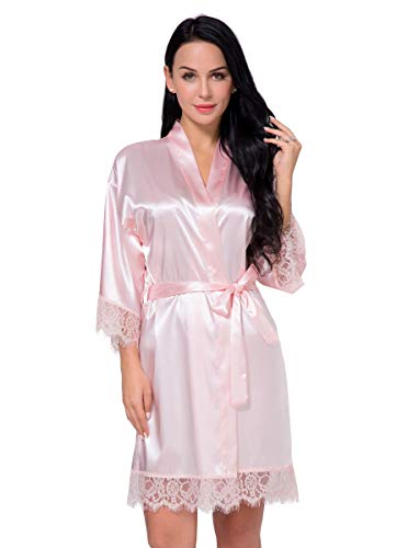 (Women's Satin Silk Robe in Lace Stitching Sexy V-Necked Pajamas Kimono Nightgown Bridesmaids Sleepwear (Pink, XL))