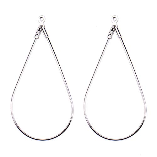 Monrocco 20 18K Platinum Plated Teardrop Shaped Beading Hoop Earring Finding for Earring Jewelry Making