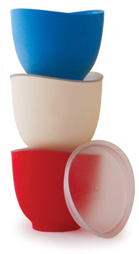 iSi Basics Flex-it 1-Cup Prep Bowls with Lids, Set of 3, Red, White, and Mediterranean Blue - Isi Silicone Mixing Bowl