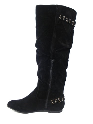 Womens/Ladies Black Knee High Imitation Suede Boots - Black - UK SIZES 3-8 08fd4R