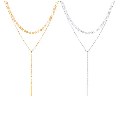 CULOVITY 2Pcs Exquisite Bar Pendant Layered Sequins Choker Necklaces Lariat Chain Jewelry for Women Goldtone ()