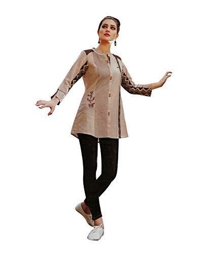 Ladyline Womens Gorgeous Kurti Shirt 100% Cotton Embroidered with Ethnic Prints 3/4 Sleeves Tunic Kurta Indian (Size_44/ Beige)