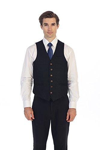 Gioberti Men's 6 Button Custom Formal Tweed Vest, 13 - Barleycorn Navy, X-Large -