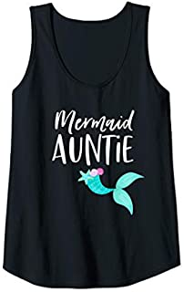Womens Mermaid Aunt  - Girl Birthday Party for Aunt or Auntie Tank Top T-shirt | Size S - 5XL