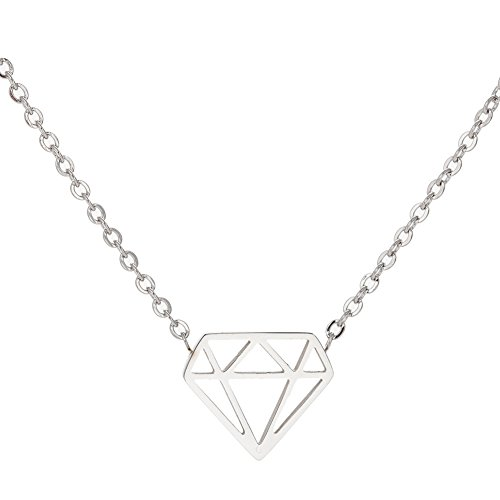 - Stainless Steel Geometric Triangle Simulated Diamond Necklace Pendant (Silver)