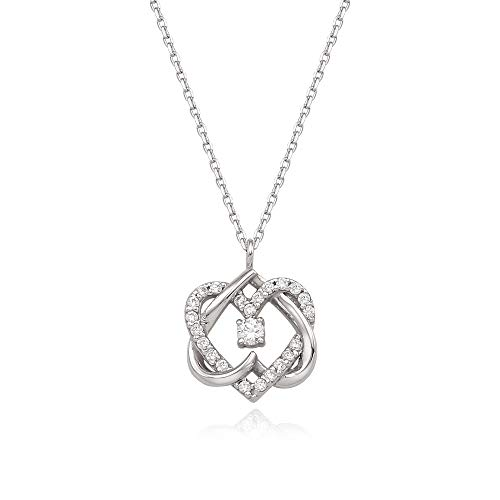 J.RAHEL 925 Sterling Silver Eternal Love Double Knot Heart Pendant CZ Necklace for Women Girls, Gift for her (Knots Of Love Heart Necklace)