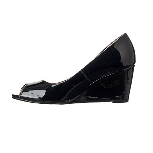 Women's Toe Peep Pumps Patent Wedge Addie Riverberry Black Mid Height 4d4aq