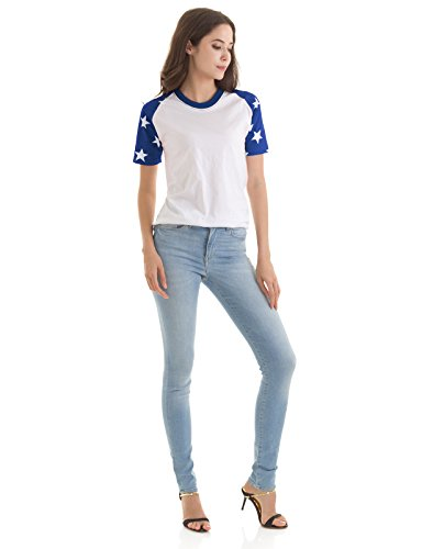 H2H Womens Comfy Round Neck Short Raglan Sleeve American Flag Top Tee WHITEBLUE US XL/Asia XL (KWTTS0160)