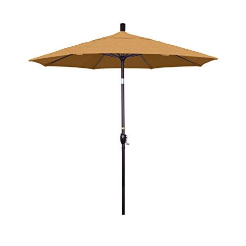 California Umbrella 7.5′ Round Aluminum Market Umbrella, Crank Lift, Push Button Tilt, Bronze Pole, Sunbrella Teak