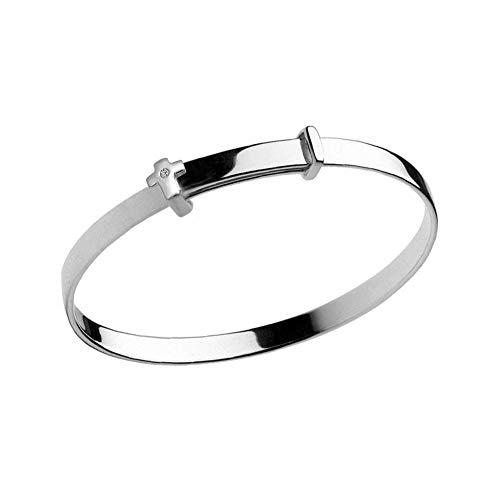 Boy & Girl Jewelry - Sterling Silver Diamond Cross Adjustable Bangle Bracelet With Engraving