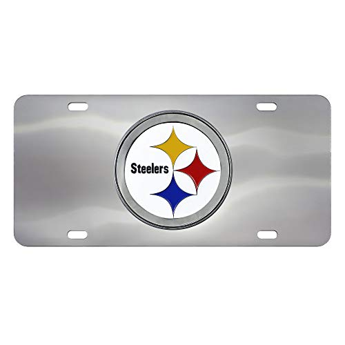 Nfl Stainless License Plate - FANMATS NFL Pittsburgh Steelers Die Cast License Platedie Cast License Plate, Chrome, 6