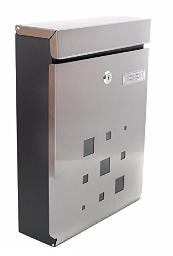 PEELCO Modern Rust Proof Powder Coated Galvanized Steel Vertical Lockable Mailbox, Stainless Steel and Black (Residential Outdoor Brick)