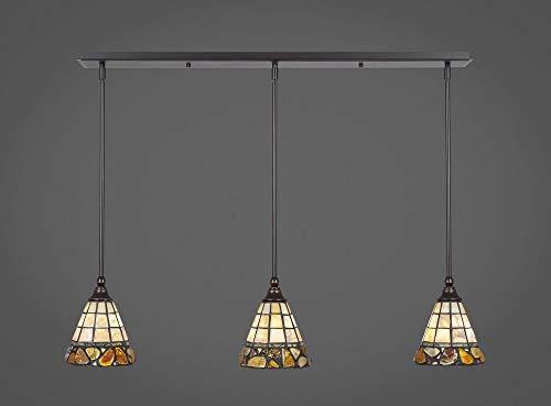 Toltec Lighting 36-DG-9735 Any - Three Light Mini Pendant, Dark Granite Finish with Cobblestone Tiffany Glass