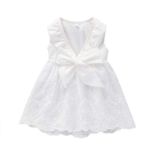 2019 Baby Girls Cute Princess Summer Lace Dress Sleeveless Embroidery Fresh Style Dresses (White, 5T) -